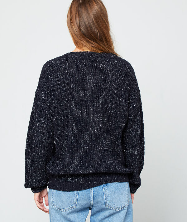 Metallic thread jumper in a maxi knit