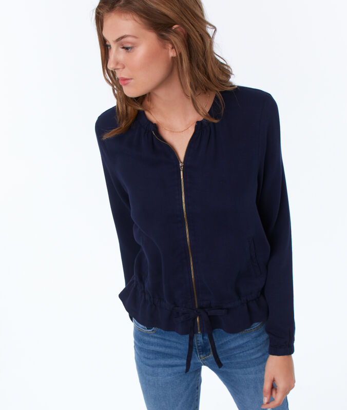 Tencel® zipped jacket navy blue.