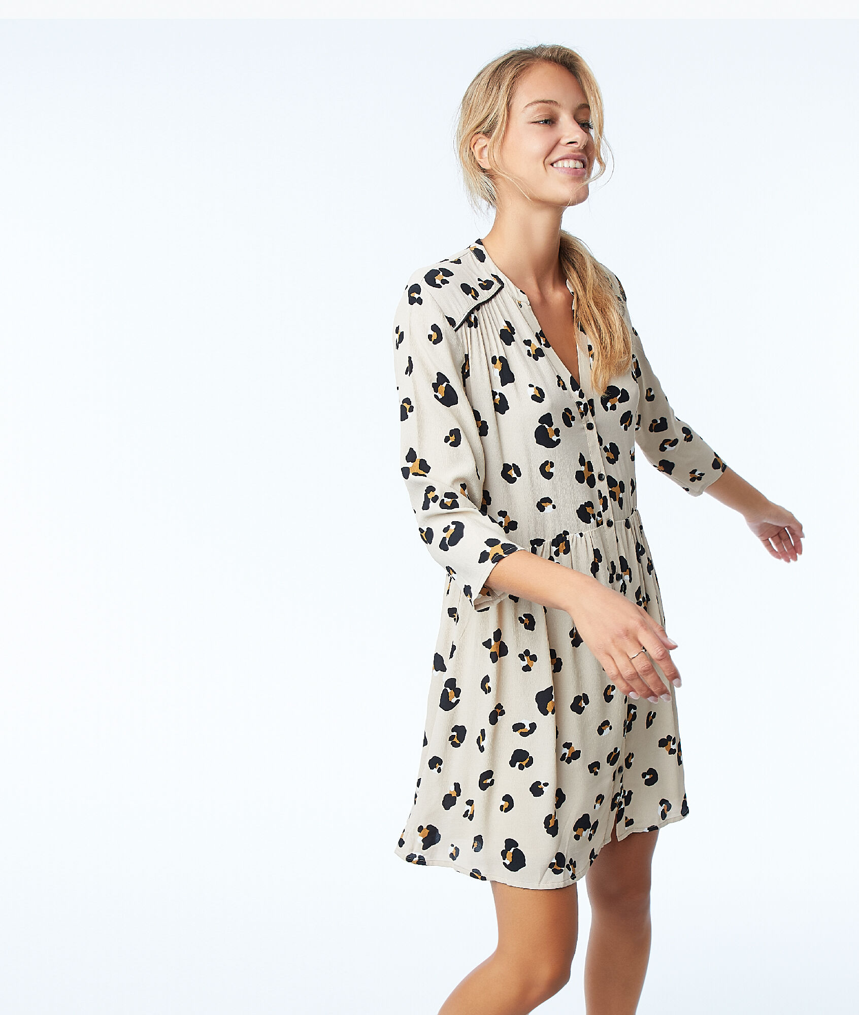 top design beaucoup à la mode style moderne Robe courte imprimé léopard - ELOUISA - BEIGE - Etam
