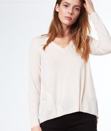 Jumper with lace panel ecru.