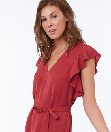 Flowing dress with belt raspberry pink.