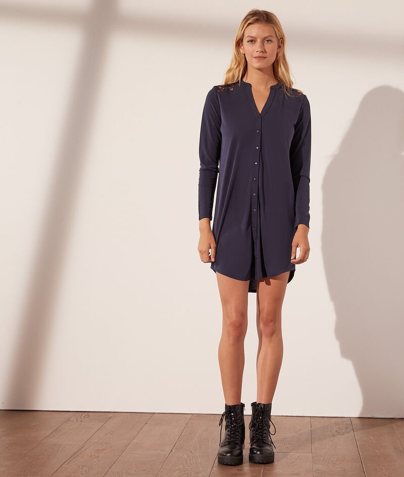 Shirt dress with lace back