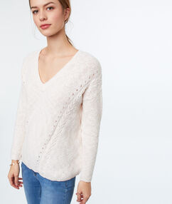 Cotton v-necked jumper pale pink.