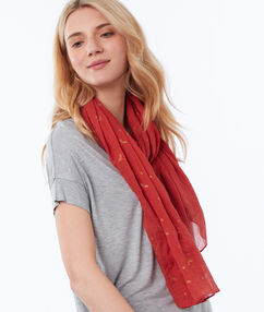 Printed scarf tomato red.