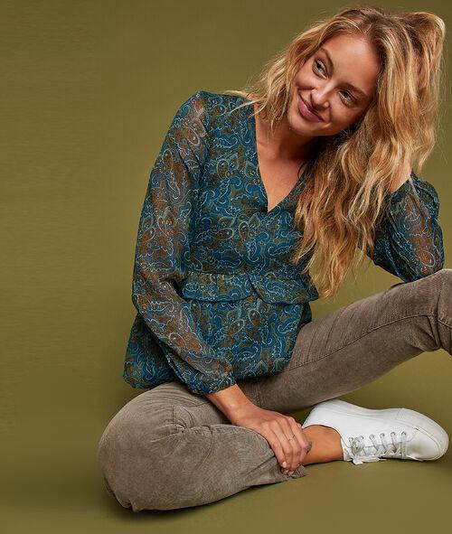 Sheer sleeves blouse