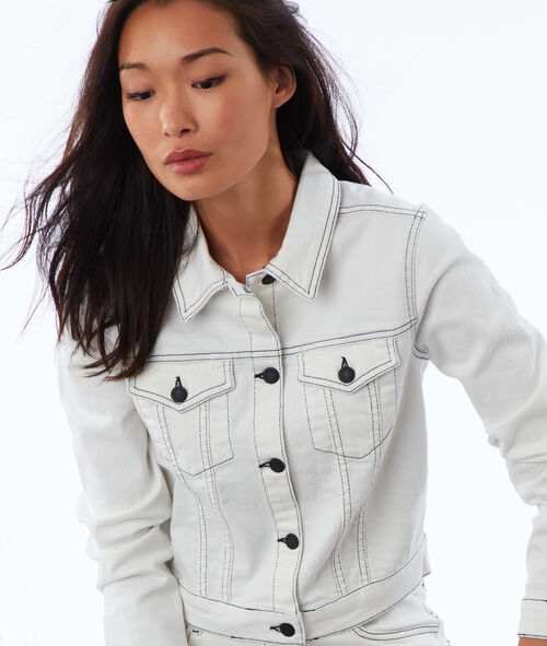 Denim jacket with contrast tipping