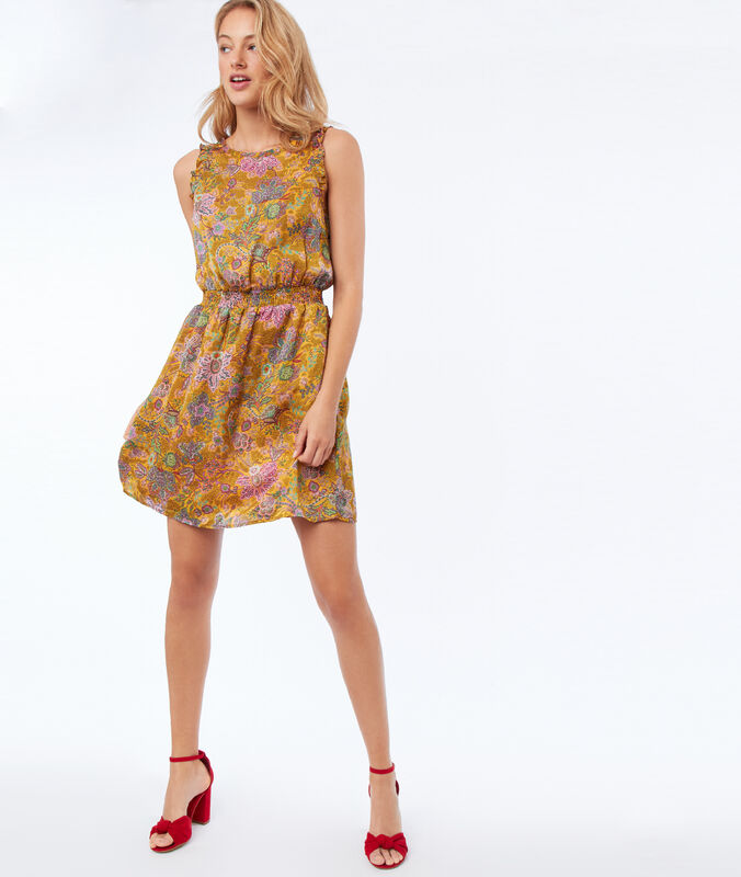 Sleeveless dress with flower print mimosa yellow.