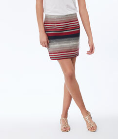 Striped jacquard skirt red.