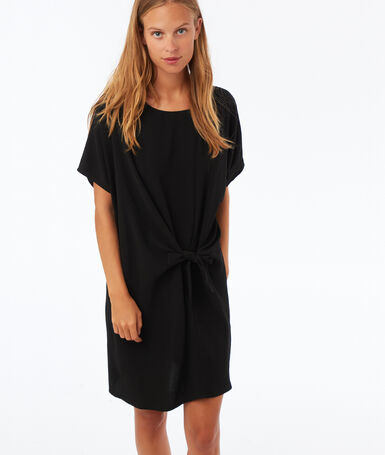 Dress knotted at the front black.