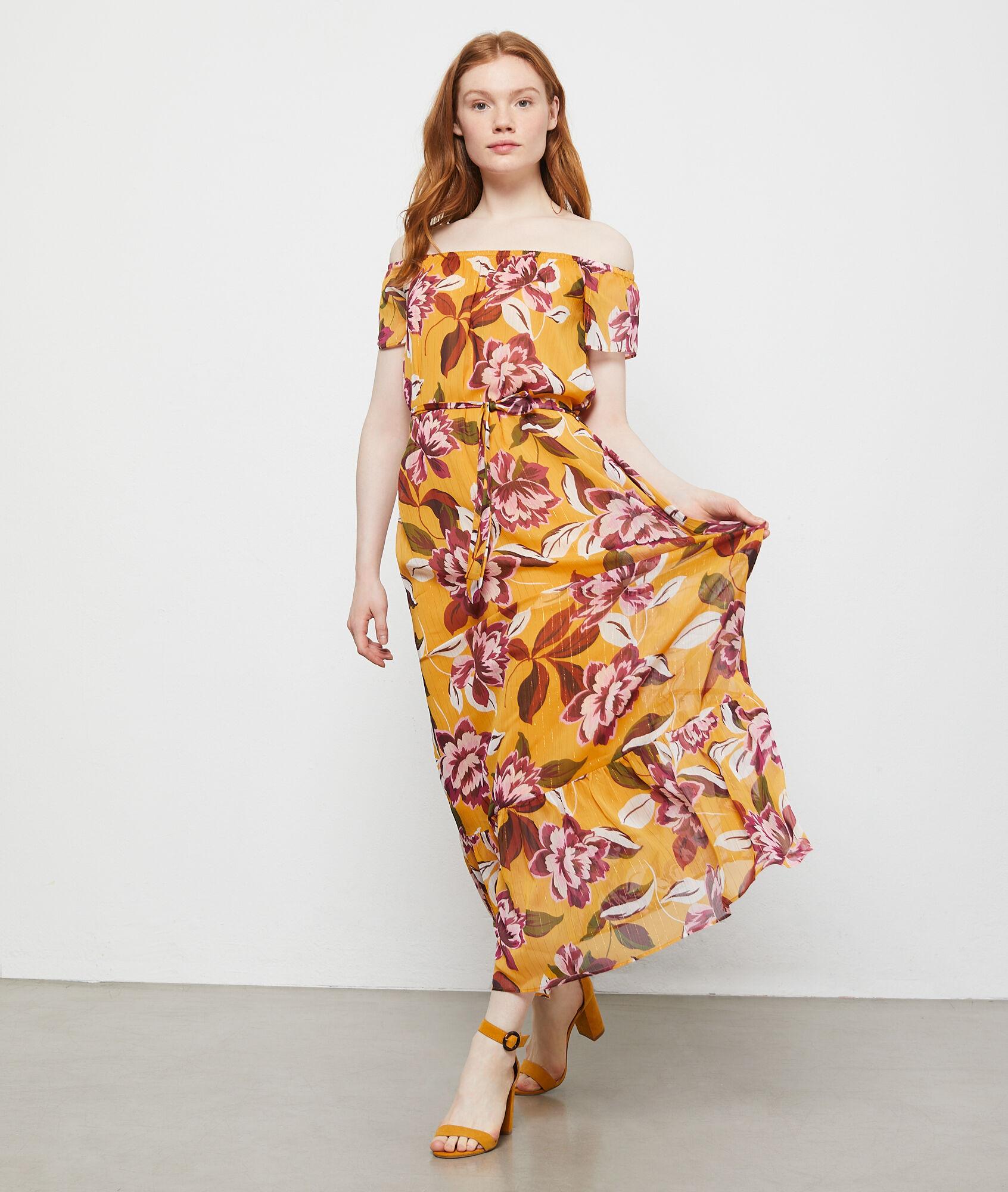 835ec2a7e1060 Robe bustier à imprimé fleuri - CLARA - CURRY - Etam