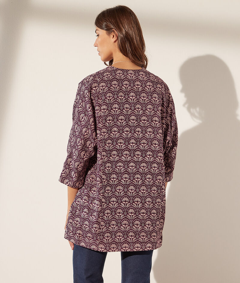 Printed cotton kimono jacket