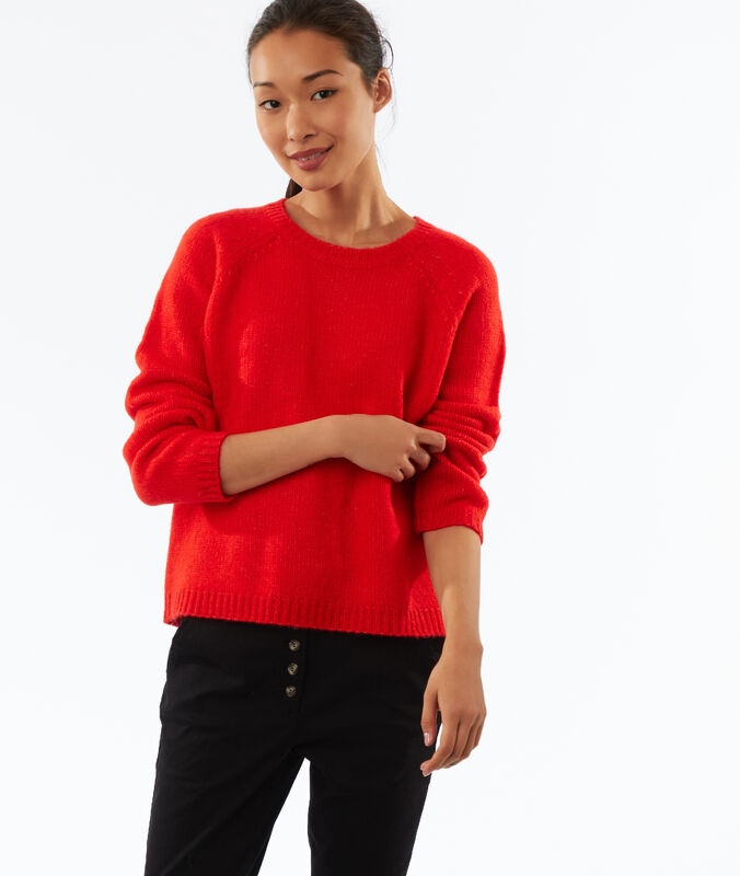 Pull en grosse maille coquelicot.