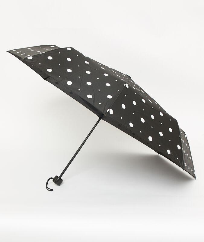 Parapluie à pois noir.
