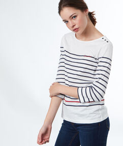 Paradise breton top in cotton navy blue.