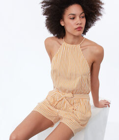 Playsuit with knotted waist ocre.