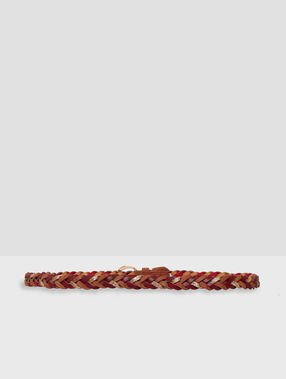 Tricolor woven belt sienna.