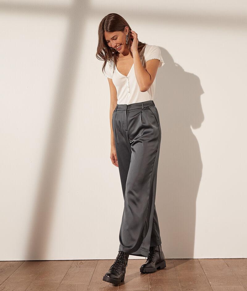 Wide-leg satin trousers