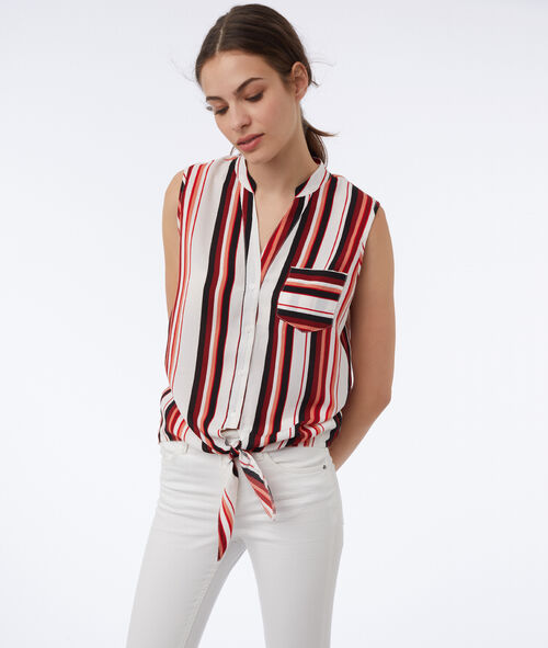 Striped top knotted at the front