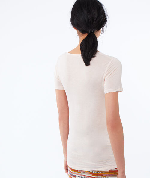 V-neck T-shirt with lace detail