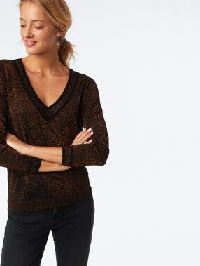 Jersey escote en v fibras metalizadas negro.
