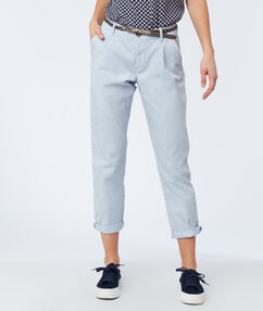 Woven peg trousers with obi tie light blue.