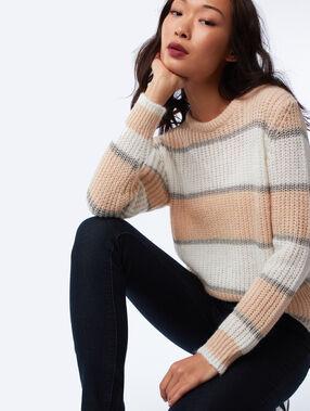 Chunky knit stripe jumper ecru.