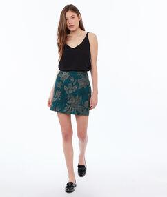 Floral print skirt emerald green.