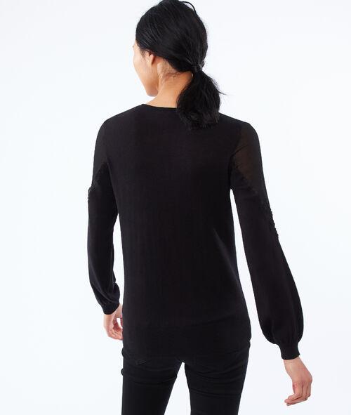 Bi-material sweater