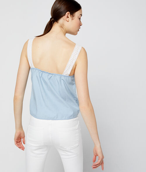 Cotton top with lace straps