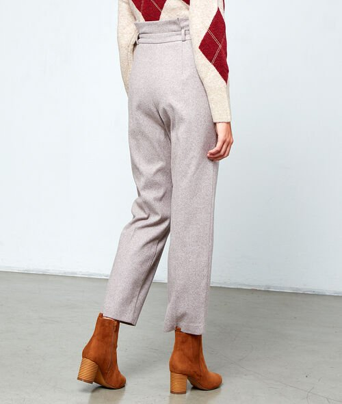 High waist belted trousers