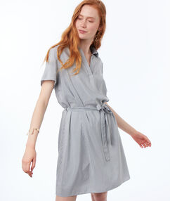 Wrap dress light blue.