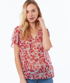 Floral print top red.