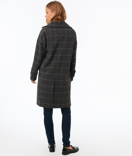Plaid coat with tailored collar