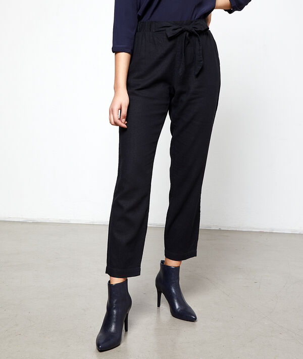 Peg trousers with tie detail