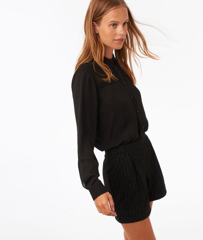 Metallic thread stripe short black.