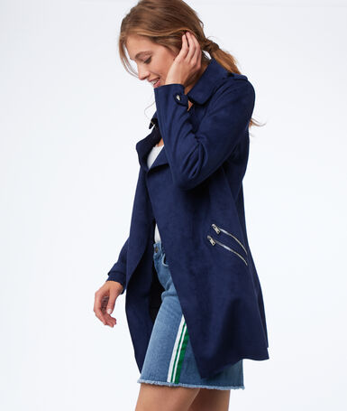 Mid-length trench coat with suede effect navy blue.