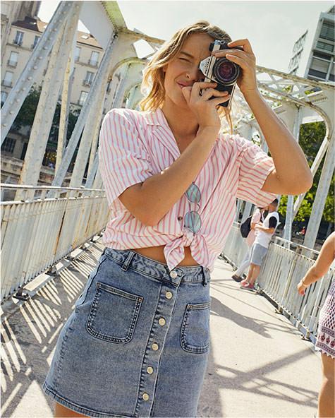 ETAM - NEIGE Jupe en jean boutonnée